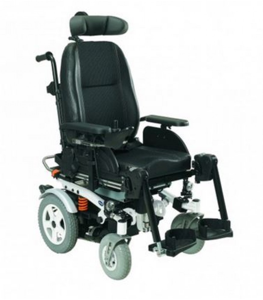 A black electric wheelchair with drive wheels at the back and large castors at the front